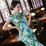 double sided opening long cheongsam