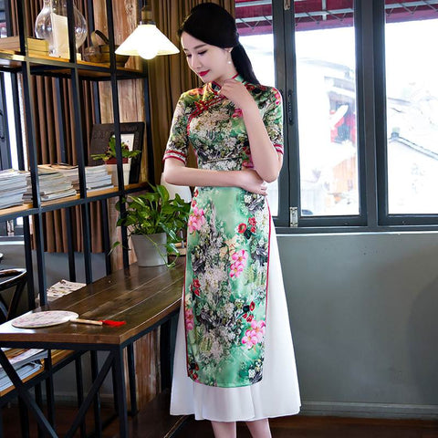 light green long qipao dress