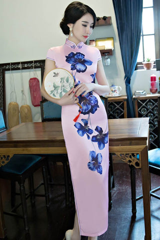 Blue Flower Long Chinese Cheongsam Party Dress HQ7242