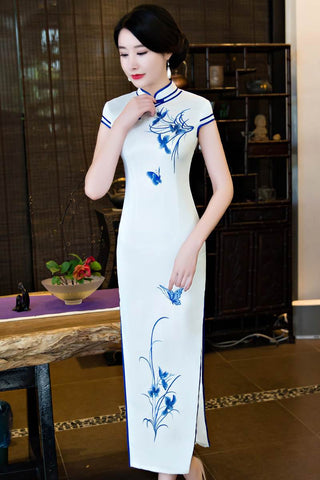 white long silk qipao