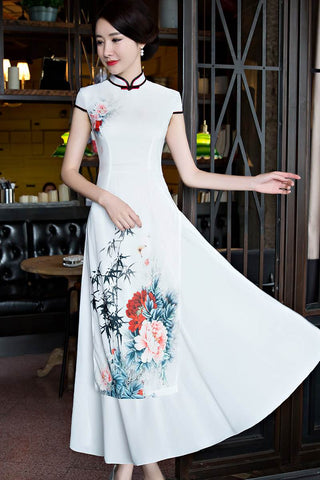 faux silk improved cheongsam
