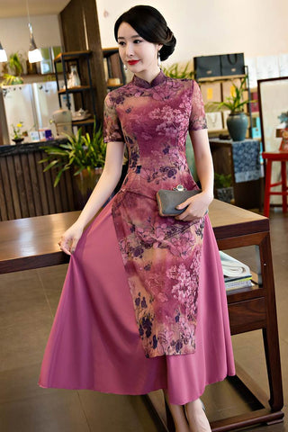 short sleeve fashionable long cheongsam