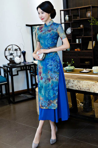 blue improved cheongsam