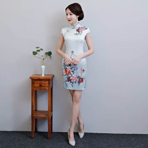 Vintage Shanghai Style Light Gray Printing Short Qipao Dress S-3XL HQ8107