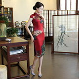multicolor printed qipao dress