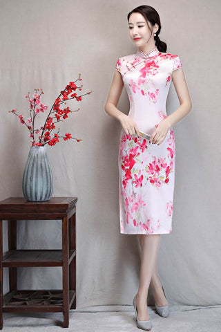 light pink short qipao