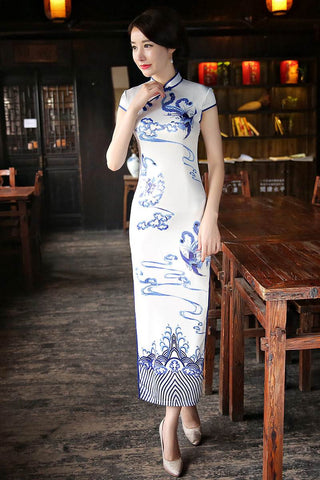 Chinese Women's Clothing Elegant Slim Long Cheongsam HQ8300