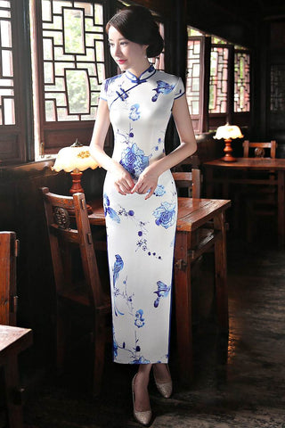 White High Neck Printing Long Cheongsam Dress S-3XL HQ8303