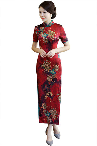 dark red long chinese dress