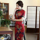 short sleeve long cheongsam