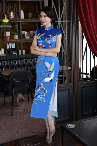 long cheongsam cotton lined
