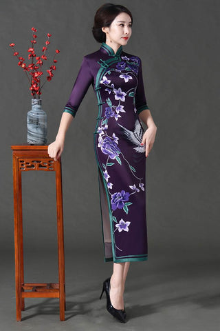 purple long cheongsam