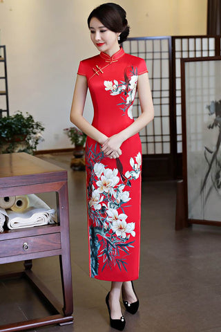 Luxury Chinese Cheongsam Dress Magnolia Printed Floral HQ8328