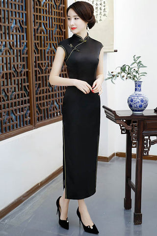 Black Silk Frog Button Pure Color Long Chinese Dress Qipao M-3XL HQ8351