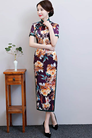 multicolor printed qipao dresses