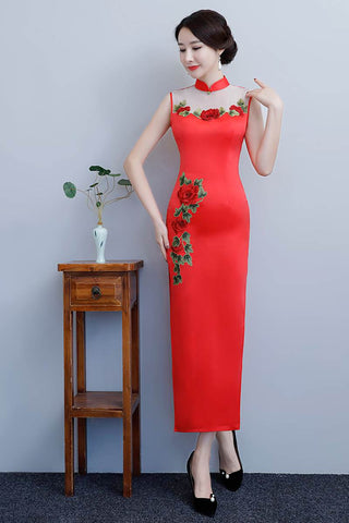 red long cheongsam dress