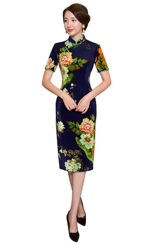 navy blue chinese clothing