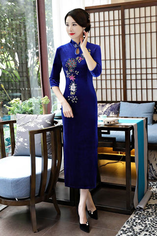 Elegant Embroidery Half Sleeve Side Split Long Cheongsam Party Dress HQ8422