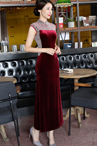 Velour Beaded Sleeveless Chinese Dress Evening Gown S-3XL HQ8425