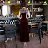 Velour Beaded Sleeveless Chinese Dress Evening Gown HQ8425