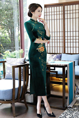 long embroidery cheongsam