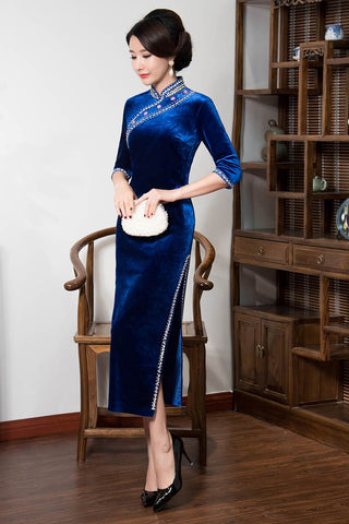 blue long velour cheongsam
