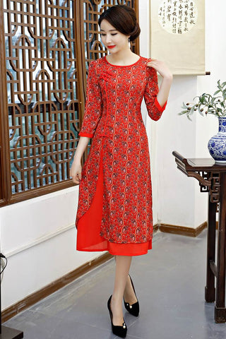 red printing cheongsam dress