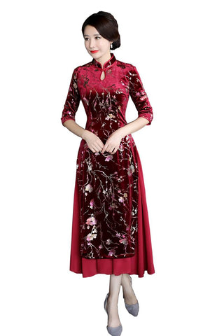Elegant Floral Pattern Reformed Velour Qipao Dress HQ8602