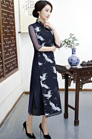long sleeves chinese dress