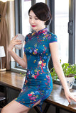 dark blue short cheongsam