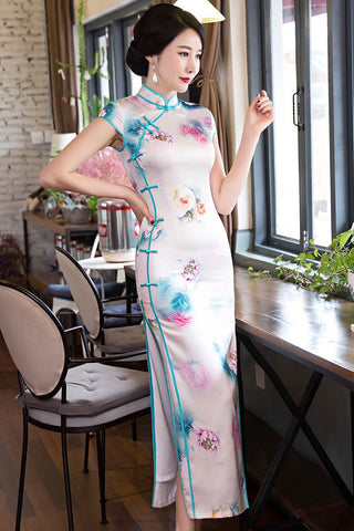 White Printing Silk Long Cheongsam Chinese Evening Gown S-3XL HQFC120