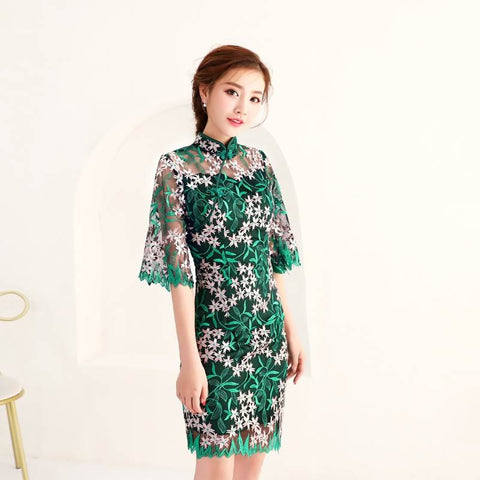 embroidery lace qipao dress