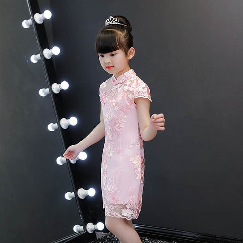 Girls Qipao Classical Style Embroidery Peony Cheongsam Dress HS8076