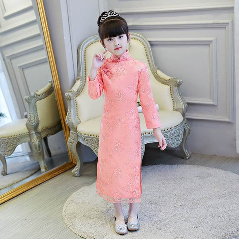 Girls Dress Chinese Cheongsam Embroidered Flowers Dresses Princess Dress HS8093
