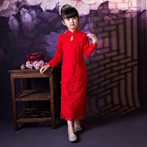 red lace chinese dress