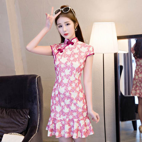 red lace mermaid cheongsam