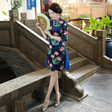 Blue Vintage Floral 3/4 Sleeve Cheongsam Dress M-3XL MBL3706