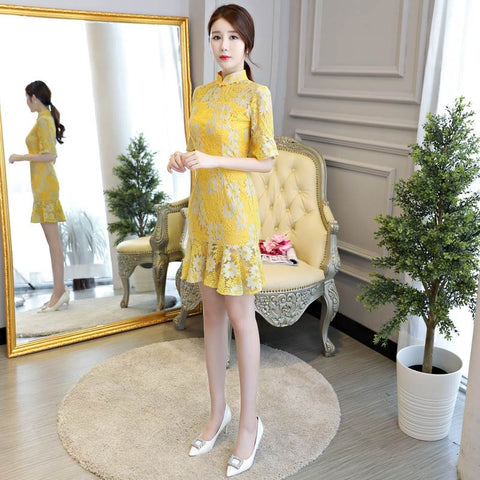 lace mermaid cheongsam dress
