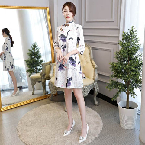 A-Line Printed 3/4 Sleeve Loose Short Cheongsam Dress MBL3736