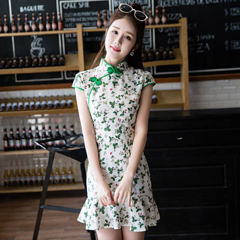 short mermaid cheongsam dress