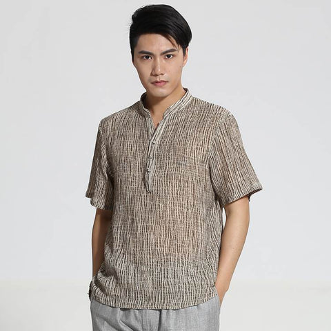 brown chinese style shirt