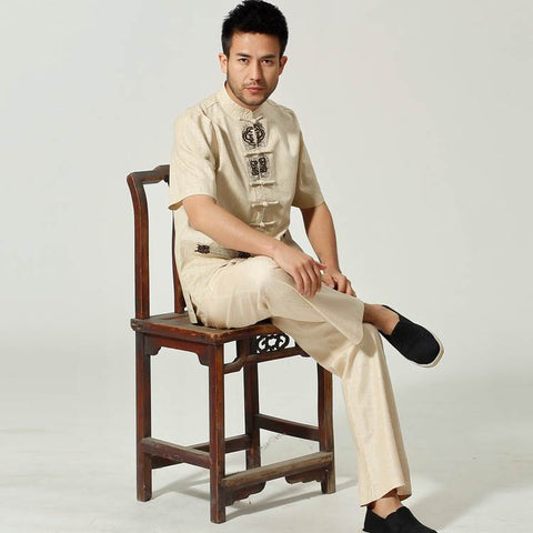beige chinese kung fu suits