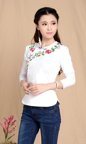 white cotton chinese clothing