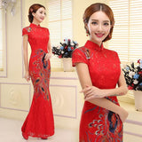 long mermaid cheongsam dress