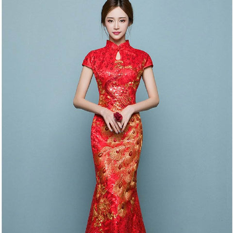 mermaid cheongsam wedding dress