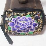 purple camellia clutch-bag