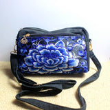 blue camellia clutch-bag