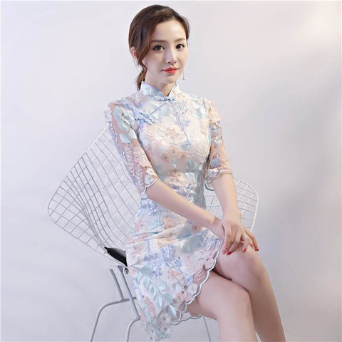 Bride Wedding Cheongsam Dress Short Qipao TS7133