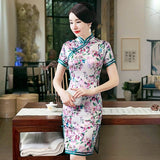 short sleeve cheongsam dress