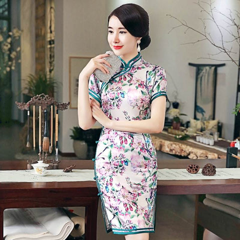 chinese silk clothing short cheongsam